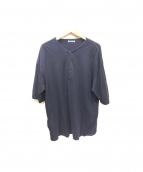 AURALEE(オーラリー)の古着「ヘンリーネックビッグTシャツ」|ネイビー