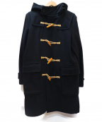 MHL.(エムエイチエル)の古着「メルトンウールロングダッフルコート」|ブラック×ベージュ