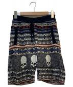 GEMMA.H UOMO(ジャンマアッカウォモ)の古着「総柄ニットショートパンツ」 ブラック×マルチカラー