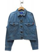BLUE LABEL CRESTBRIDGE(ブルーレーベルクレストブリッジ)の古着「クロップドビッグデニムジャケット」|インディゴ