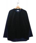 TOMORROW LAND(トゥモローランド)の古着「ジャージ×シャツ切替ロングカットソー」|ブラック