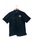 IRON HEART(アイアンハート)の古着「パッチワークストライプシャツ」|ブラック×ホワイト