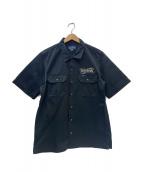 IRON HEART(アイアンハート)の古着「バックプリントワークシャツ」|ブラック×ホワイト