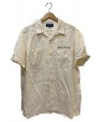 IRON HEART(アイアンハート)の古着「サテンボーリングシャツ」|アイボリー×カーキ