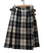 ONEIL OF DUBLIN(オニール オブ ダブリン)の古着「チェック柄リネンラップスカート」 ホワイト×ブラック
