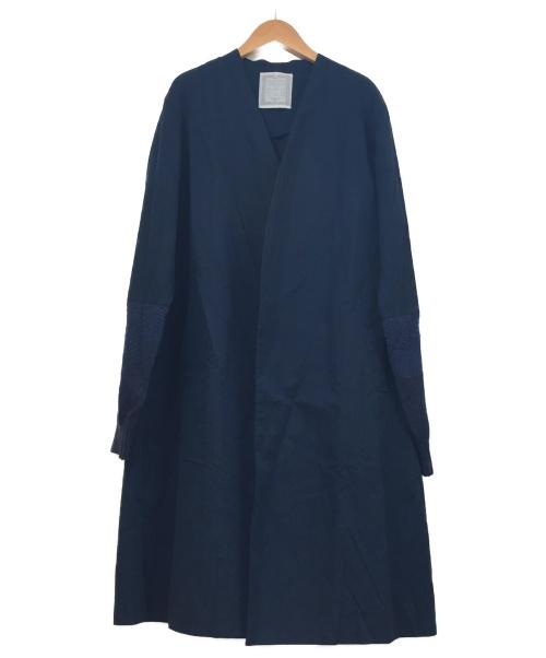 BEARDSLEY(ビアズリー)BEARDSLEY (ビアズリー) 袖口ニット羽織コート ネイビー サイズ:Fの古着・服飾アイテム