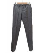 lideal(リデアル)の古着「センタープレスウールストライプパンツ」|グレー×ホワイト
