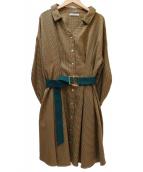 REDYAZEL(レディアゼル)の古着「ベルト付シャツワンピース」|ベージュ×グリーン