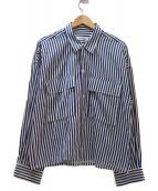 MONKEY TIME(モンキータイム)の古着「ストライプシャツ」|ホワイト×ネイビー