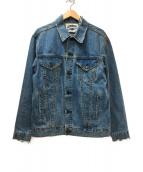 LEGENDA(レジェンダ)の古着「バックプリントオーバーデニムジャケット」|ブルー×レッド