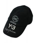 Y-3(ワイスリー)の古着「ロゴ刺繍キャップ」 ブラック×ホワイト