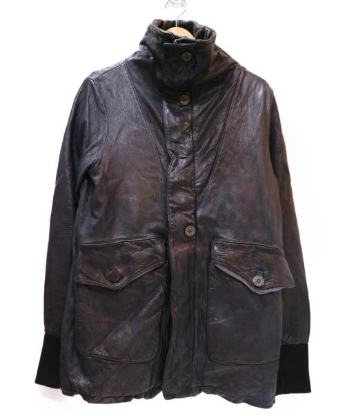 GIORGIO BRATO(ジョルジオブラット)GIORGIO BRATO (ジョルジオブラット) ハイネックレザージャケット ブラック サイズ:46の古着・服飾アイテム