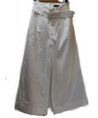 Drawer(ドゥロワ)の古着「ベルト付ビッグワイドパンツ」 ホワイト