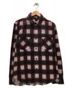 n(n) by NUMBER (N)INE(エヌエヌバイナンバーナイン)の古着「コットンチェックネルシャツ」|ボルドー×ブラック