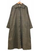 TOTEME(トーテム)の古着「グレンチェックオーバーサイズコート」|ブラウン×オレンジ