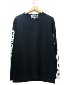 CDG(コム・デ・ギャルソン)の古着「スリーブロゴプリントカットソー」|ブラック×ホワイト