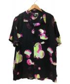 stussy(ステューシー)の古着「オープンカラーシャツ」|ブラック×ピンク
