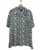 stussy(ステューシ)の古着「総柄オープンカラーシャツ」|ブルー×ブラック