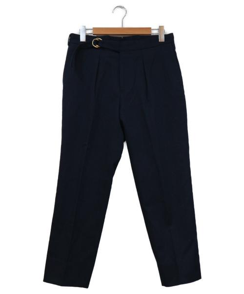 TOMORROW LAND(トゥモローランド)TOMORROW LAND (トゥモローランド) ウールコットンギャバジン 1プリーツスリムスラックス ネイビー サイズ:46の古着・服飾アイテム