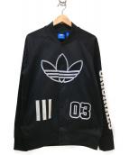adidas(アディダス)の古着「ロゴワッペンブルゾン」 ブラック×ホワイト