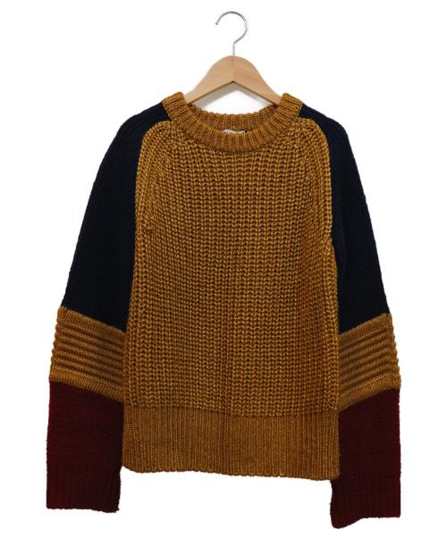 AMERI(アメリ)AMERI (アメリ) ボリュームスリーブブロックニット ゴールド×ネイビー サイズ:FREE  COLOR BLOCK SLEEVE KNITの古着・服飾アイテム
