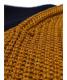 中古・古着 AMERI (アメリ) ボリュームスリーブブロックニット ゴールド×ネイビー サイズ:FREE  COLOR BLOCK SLEEVE KNIT:4800円