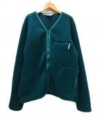 Battenwear(バテンウェア)の古着「ノーカラーボアフリースカーディガン」 グリーン