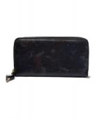 ()の古着「ラウンドファスナー長財布」|カーキ×グレー