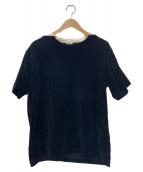 SCYE(サイ)の古着「ベロアネック切替Tシャツ」|ブラック×ホワイト