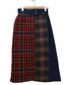 PEGGY LANA(ペギーラナ)の古着「クレイジーパターンスカート」|ネイビー×レッド
