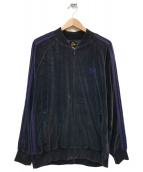 Needles(ニードルス)の古着「ベロアトラックジャケット」|ブラック×パープル