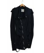 UNDERCOVER(アンダーカバー)の古着「スウェットライダースコート」|ブラック