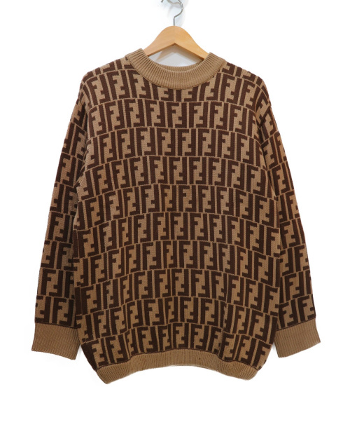 FENDI(フェンディ)FENDI (フェンディ) ズッカ柄ハイネックニット ブラウン サイズ:記載なしの古着・服飾アイテム