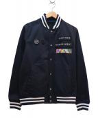 uniform experiment(ユニフォームエクスペリメント)の古着「ロゴワッペンスタジャン」|ネイビー×ホワイト