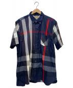 BURBERRY(バーバリーズ)の古着「チェックブレンド半袖シャツ」 ネイビー×レッド
