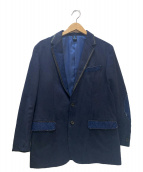 LANVIN en Bleu(ランバンオンブルー)の古着「レザーカラーデニム切替テーラードジャケット」 ネイビー