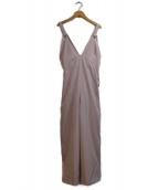 PROPORTION BODY DRESSING(プロポーションボディードレッシング)の古着「ストレッチツイルバックリボンサロペット」|ピンク