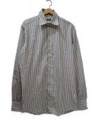 DOLCE & GABBANA(ドルチェアンドガッバーナ)の古着「ストライプドレスシャツ」|ホワイト×ブラウン