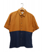 Maison Martin Margiela(メゾンマルタンマルジェラ)の古着「半袖切替シャツ」|ブラウン×ネイビー
