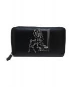 ()の古着「コラボラウンドファスナー長財布」|ブラック×ホワイト