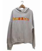 MISBHV(ミスビヘイブ)の古着「ロゴプリントビッグプルオーバーパーカー」|ホワイト×イエロー