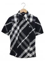 BURBERRY(バーバリー)の古着「ホースマークブラックチェックシャツ」 ブラック×ホワイト