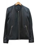 LIDnM(リドム)の古着「ラムシングルライダースジャケット」 ブラック