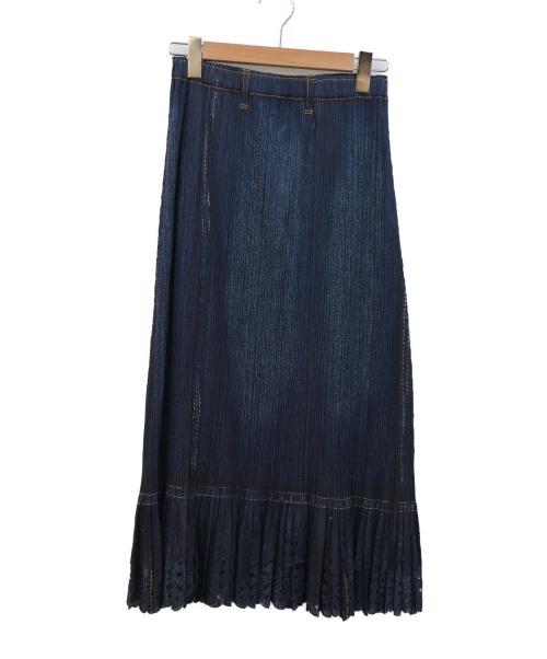 PLEATS PLEASE(プリーツプリーズ)PLEATS PLEASE (プリーツプリーズ) 転写プリントプリーツスカート ネイビー サイズ:3の古着・服飾アイテム