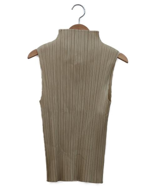 PLEATS PLEASE(プリーツプリーズ)PLEATS PLEASE (プリーツプリーズ) ノースリーブプリーツブラウス ベージュ サイズ:4の古着・服飾アイテム