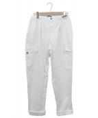 PT01(ピーティーゼロウーノ)の古着「CARROT FITコットンリネンパンツ」|ホワイト