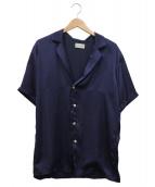 BED J.W. FORD(ベッドフォード)の古着「半袖サテンシャツ」|ネイビー