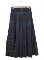 sacai(サカイ)の古着「切替プリーツスカート」|ネイビー