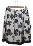 ()の古着「フレアスカート」|ホワイト×ネイビー