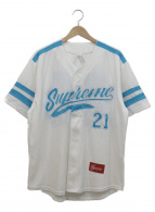 Supreme(シュプリーム)の古着「ロゴ刺繍ベースボールシャツ」|ホワイト×ブルー